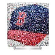 Boston Red Sox Cap Mosaic Shower Curtain