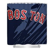 Boston Red Sox Typography Blue Shower Curtain