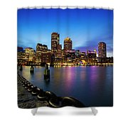 Boston Skyline At Dusk Shower Curtain