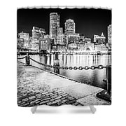Boston Skyline At Night Black And White Picture Shower Curtain