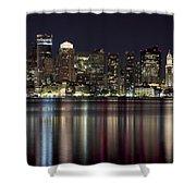 Boston Skyline At Night Shower Curtain