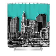 Boston Skyline - Graphic Art - Cyan Shower Curtain