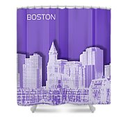 Boston Skyline - Graphic Art - Purple Shower Curtain
