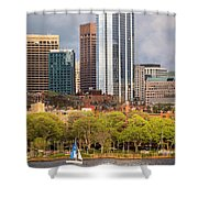 Boston Skyline Skyscraper Boston Ma Charles River Shower Curtain