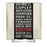 Boston Subway Stops Poster Shower Curtain