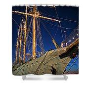 Boston Tall Ship Flags Boston Ma Sailors Blue Sky Shower Curtain