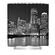 Boston Waterfront Black And White Shower Curtain