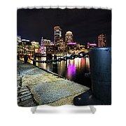 Boston Waterfront Skyline View Boston Ma Shower Curtain