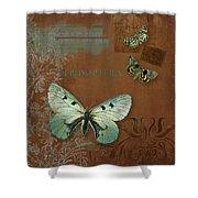 Botanica Vintage Butterflies N Moths Collage 4 Shower Curtain