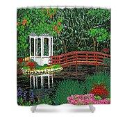 Botanical Garden Park Walk Pink Azaleas Bridge Gazebo Flowering Trees Pond Shower Curtain