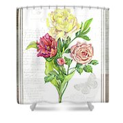Botanical Vintage Style Watercolor Floral 3 - Peony Tulip And Rose With Butterfly Shower Curtain