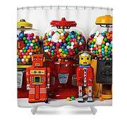 Bots And Bubblegum Machines Shower Curtain