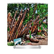 Bottle Fence In Golden New Mexico Shower Curtain