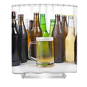 Bottles Of Beer And Beer Mug.  Shower Curtain