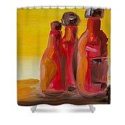 Bottles Of Hot Sauce Shower Curtain by Steve Jorde