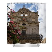 Sunlit Pink Bougainvillea At Santa Lucia Alla Badia Church In Syracuse Sicily Shower Curtain