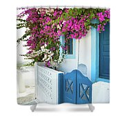 Bougainvillea In Santorini Island Shower Curtain