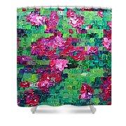Bouganvillea - Tiled Shower Curtain