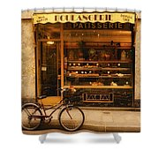 Boulangerie And Bike Shower Curtain by Mick Burkey