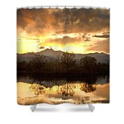 Boulder County Sunset Reflection Shower Curtain