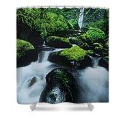 Boulder Elowah Falls Columbia River Gorge Nsa Oregon Shower Curtain
