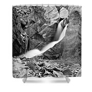 Boulder Falls Black And White   Shower Curtain