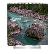 Boulder In The River - Slovenia Shower Curtain