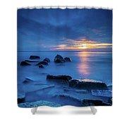 Boulder Point Sunrise Shower Curtain