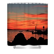Rock Sunset Silhouette Shower Curtain