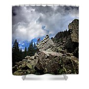 Bouldering On The Flint Creek Trail - Weminuche Wilderness Shower Curtain