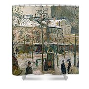 Boulevard De Rocheouart In Snow Shower Curtain