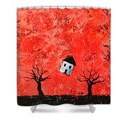 Bouncing House Fiery Sky Shower Curtain