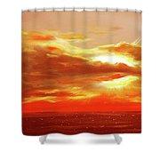 Bound Of Glory - Red Panoramic Sunset  Shower Curtain