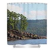 Bounding Boulders Shower Curtain