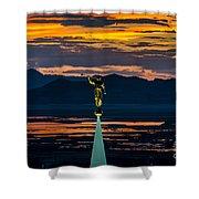 Bountiful Sunset - Moroni Statue - Utah Shower Curtain