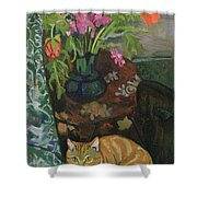 Bouquet And A Cat Shower Curtain