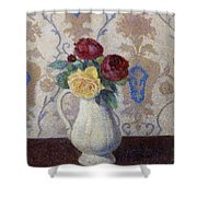 Bouquet De Roses Dans Un Vase 1885 Shower Curtain