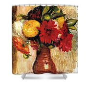 Bouquet Of Flowers In An Earthenware Pitcher Shower Curtain