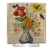 Bouquet Of Flowers Over Dictionary Page Shower Curtain by Anna W