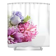 Bouquet Of Fresh Flowers Isolated On White Shower Curtain