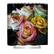 Bouquet Of Mature Roses At The Counter Shower Curtain