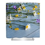 Bouquet Of Wild Flowers On A Wooden Shower Curtain