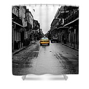 Bourbon Street Taxi French Quarter New Orleans Color Splash Black And White Watercolor Digital Art Shower Curtain