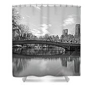 bow bridge central park N Y C Shower Curtain