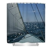 Bow Of A Sailboat Under Sail Shower Curtain