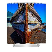 Bow Of Old Worn Boat Shower Curtain