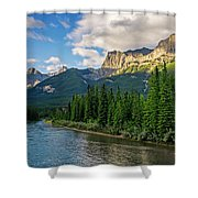 Bow River And Three Sisters Canmore Shower Curtain