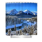 Bow River Parkway Blue Skies Shower Curtain