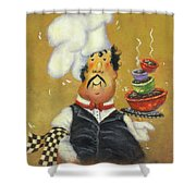 Bow Tie Chef Four Bowl Shower Curtain