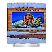 Bow Valley Parkway Snowy Entrance Shower Curtain